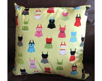 Vintage Bathing Suit Throw Pillow
