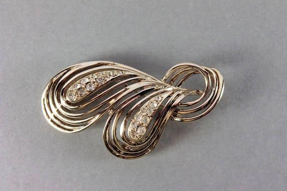 Clear Rhinestone Brooch, Rhinestone Pin, Gold Tone, C-Clasp Closure, Statement Brooch