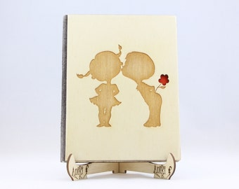 Customized Rustic Wooden Wedding Photo Album with finely laser engraved two cute kids as a symbol of true and sincere love. Different sizes.