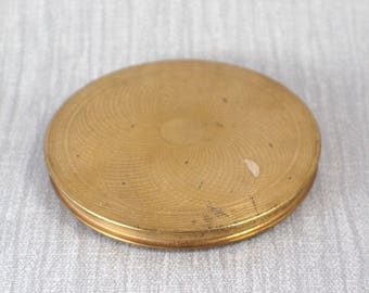Vintage Gold Brass Tone Round Powder Compact with Internal Mirror Made in England