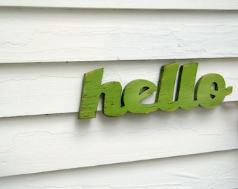Hello Welcome Sign Wooden Hello Sign Greeting Sign Salutation Entryway Sign Store Sign Cottage Style Wall Decor Outdoor Welcome Sign