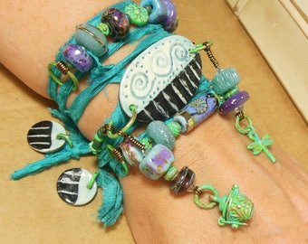 Quinlan Glass Handmade Wanderer Gypsy Sari Wrap Bracelet