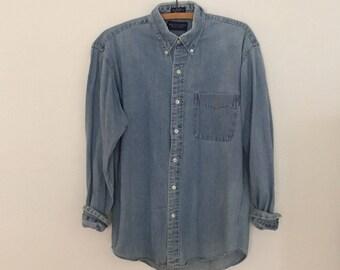 Oversized, Blue Denim Shirt - 1980s