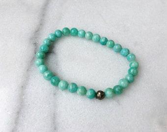 Amazonite and Pyrite Crystal Stretch Bracelet