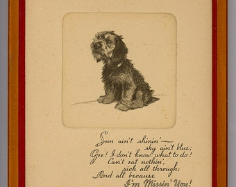 """1936 Inscription on Back - BUZZA - Wistful Framed DOG MOTTO: """"I'm Missing You"""" - from Seller's 40+ Year Collection"""