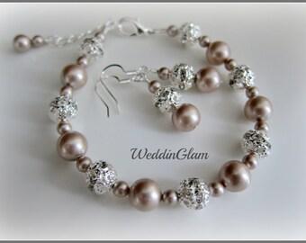 Fall wedding bridesmaid set, Swarovski light champagne Pearl & Rhinestone Bridal Bracelet, Bridesmaid bracelet and earrings set