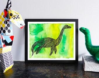 Plesiosaur Printable, Watercolor Dinosaur Wall Poster, Green Nursery Art, Lake Champlain, Champy, Nessie, Loch Ness Monster, Sea, 8x10