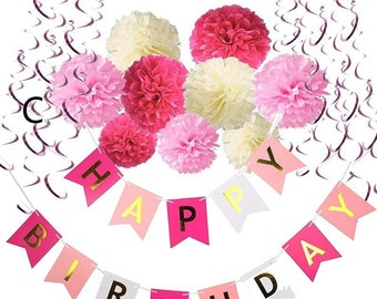 Birthday Decorations,Happy Birthday Banner Bunting with Tissue Paper Pom Poms and Hanging Swirl Decor for Birthday Party Decorations