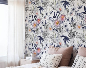 Blue Vintage Wallpaper, Wall Mural, Blue Flowers, Floral Wall Decor, Peel and Stick Wall Decoration, Spring Wallpaper, Art, Decal - A190