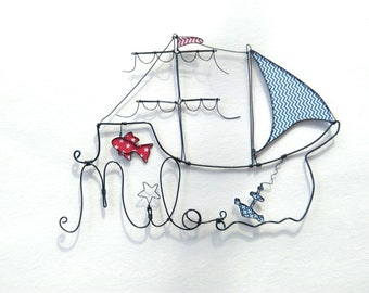 """Sailboat and fish"" personalized wire name decoration child's room"