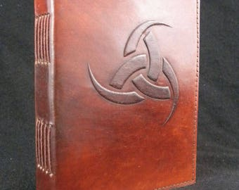 Nordic Horn of Odin - Handmade Leather Journal Diary Pagan Wicca Book-of-Shadows