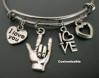 ASL Bracelet / I Love You Bracelet /  American Sign Language Bangle / Charm Bracelet / Adjustable Bangle / Expandable Bangle / Stackable