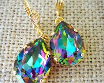 Multicolor Swarovski Electra,  Crystal Dangle Earrings, Multicolor Earrings, Swarovski Electra, Rainbow Dangle Earrings, Bridesmaid earrings
