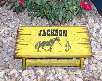 Birthday gift idea for kid's, western step stool for boys and girls. Personalized child's stool