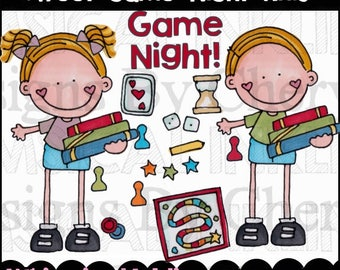 Sweet Game Night Kids Clipart Collection- Immediate Download