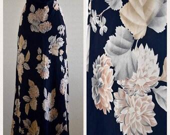 SHOP SALE Vintage Classic Black Base Silk Floral Midi Skirt by Dana Buchman Size Small