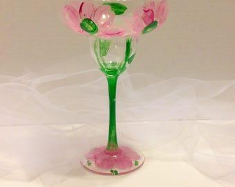 Margarita Painted Glasses, Hand Painted Glasses, Painted Flower Glasses, Custom Glasses  For The Gardner Bar Glasses