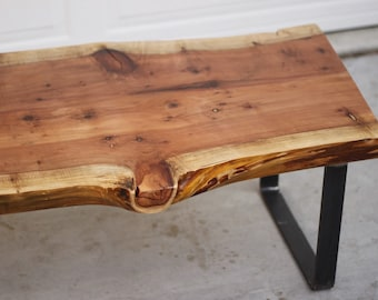reclaimed wood bolted slab coffee table