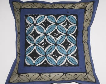 African Pillow Geometric Purple Silver Blue White Hand Painted in South Africa Xhosa Tribal Textile  Fair Trade Free Shipping U.S.