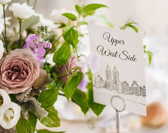 NYC Neighborhood Wedding Table Numbers | New York City Wedding Theme | Set of 10, 15, or 20