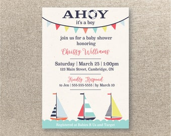 Ahoy It's a Boy - Baby Boy Shower Invitation - Nautical Baby Shower Invitation - Nautical Theme Baby Shower - Sail Boat Invitation