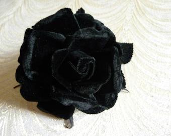 Velvet Rose in Jet Black Millinery Flower for Corsages, Hats, Brooch 3FN0067BK
