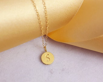 Initial Necklace | Disc Necklace | Alphabet Necklace | Initial Disc | Initials Necklace | Tiny Letter necklace | Dainty thin chain |G