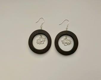 Wood Lotus Dangle Earrings, Hoop Earrings, Sterling Silver, Simple Earrings