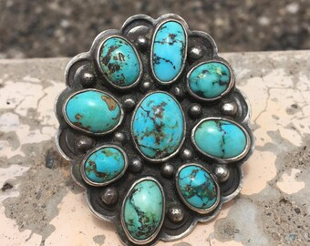 Vintage Navajo Giant Sterling Silver And Turquoise Cluster Ring 1950's 31 Grams