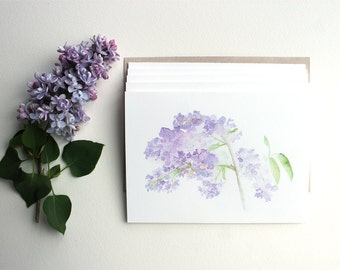 Lilacs Note Cards, Set of 5, Watercolor Card, Lilacs Painting, Purple Flower Card, Floral, Botanical Art, Green, Watercolour of lilacs
