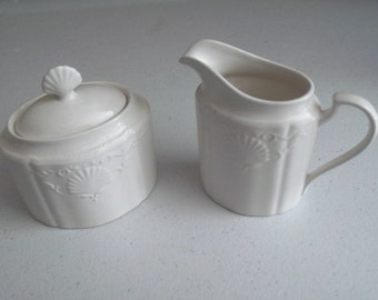 Mikasa South Hampton White Creamer & Sugar Bowl