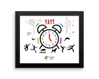 Funny Office Art - YAY! 5pm Alarm Celebration - Funny Office Wall Art, Office Humor, Office Artwork, Funny Office Decor, Office Wall Decor
