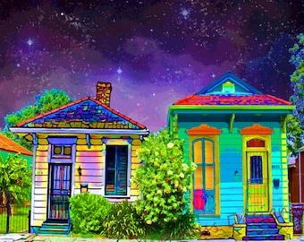 Sister Shotguns New Orleans house photography- original digital art photography 8x8