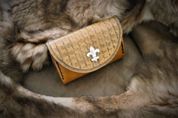 Leather pouch, card case, pocket coin holder, lily flower, medieval, renaissance