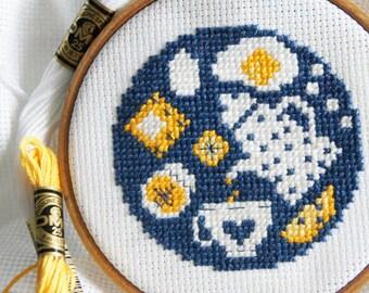 Breakfast - Tasty modern cross stitch pattern PDF - Needlepoint pattern - Instant download