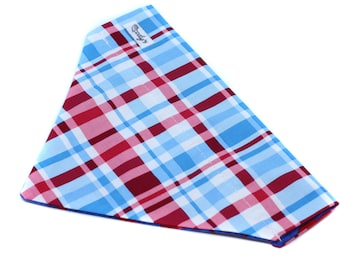Bandana fits over the collar, Blue and Red Plaid