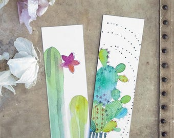 Cacti watercolor bookmarks, Green cacti, Blooming cactus, Illustrated, Cactus stationery, Botanical, Cute bookmarks, Bookworms gift, Art