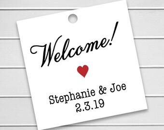 Welcome! Printed Cardstock Wedding Tags, Wedding Favor Tags, Favor Tags, Party Favor Tags (SQ-293)