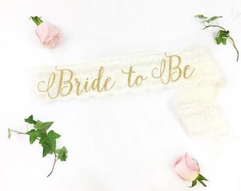 Bride-To-Be Sash - Bachelorette Sash - Bridal Shower Bachelorette Party Accessory - Satin Bride Sash - Bride Gift - Bride Sash - Lace Sash