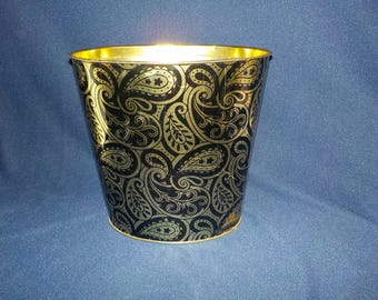 Vintage 1970's Paisley Gold and Black Tin Waste Paper Basket, Oval