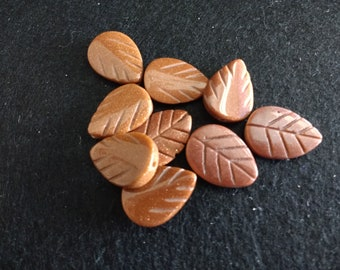 Vintage Brown Goldstone Carved Leaves