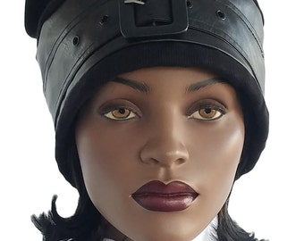 Xtra große Faux Leder Hut schwarzen Hut großen Kopf große Haar Hut Xtra groß Hut Satin gefüttert Hut handgefertigt