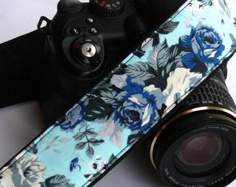 Blue Roses Camera Strap. DSLR Camera Strap. Padded Camera Strap. Gift for Her. Photo Camera Accessories. Personalized Camera Strap