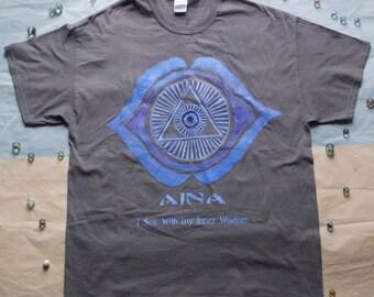 Dark Gray//Hand Painted// Cotton// T-Shirt//size-XL//with Indigo// Ajna/Third Eye/Sixth Chakra// Motif