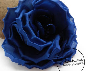 Silk 'Danielle' Large 15cm Rose Millinery Fascinator Flower Hat Mount - Cobalt Blue