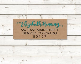 Return address label - Name in TEAL custom return address label, brown kraft label, sticker, rectangular label - SET OF 30