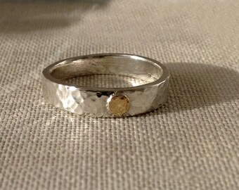 Silver band ring with gold circle.  Eclipse ring, boho ring, alternative wedding ring.  Handmade. Size S, can be made to your size.