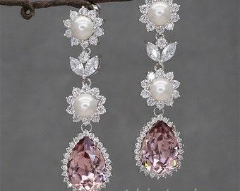 Pink Bridal Earrings, Wedding Earrings,Chandelier Earrings, Blush Pink Bridesmaid Gift, Swarovski Rhinestone Wedding Jewelry for Brides