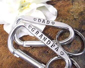 Personalized Keychain, Grandpa Key Chain, Grandpa Keychain, Name Keychain, Carabiner Keychain, Dad Keychain, Father's Day Keychain