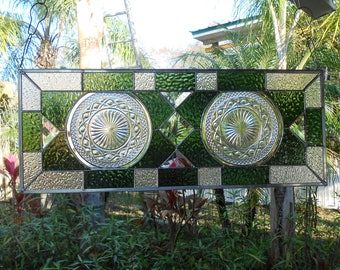 OOAK Recycled Depression Glass Crysal Clear Imperial Stained Glass Window Panel, Antique Stained Glass Transom Window, Vintage Glass Valance